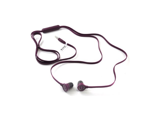 HTC Amaze 4G RC E190 Wired Flat Cable 3.5mm Hands-Free Headsets Headphones (Purple)