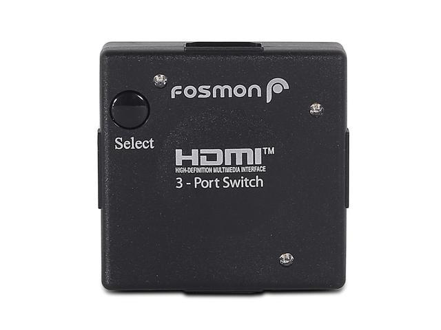 Fosmon 3 Port 3D Ultra Mini Switcher Selecter for HDTV, PS3, Plasma TV, LCD TV, Bluray DVD, HD DVD, XBOX 360 and more