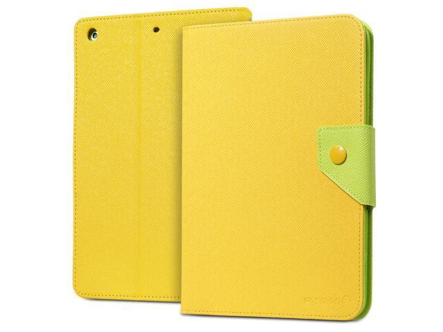 Fosmon OPUS-MIX Two-Tone Leather Folio Case for Apple iPad Air (w/ Sleep/Wake Function) - Yellow/Green