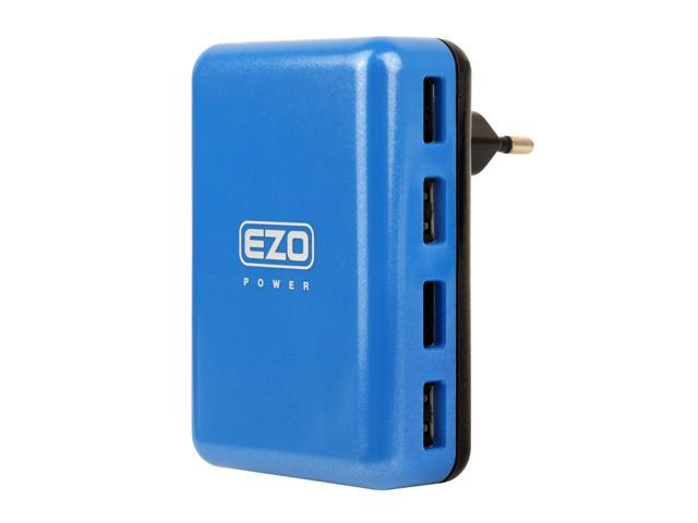 EZOPower 4-Port 5A High Output EU Europe Travel Charger Adapter for Apple iPad Air 2, iPhone 6 Samsung Galaxy S5, Note 4 / Note 3, ...
