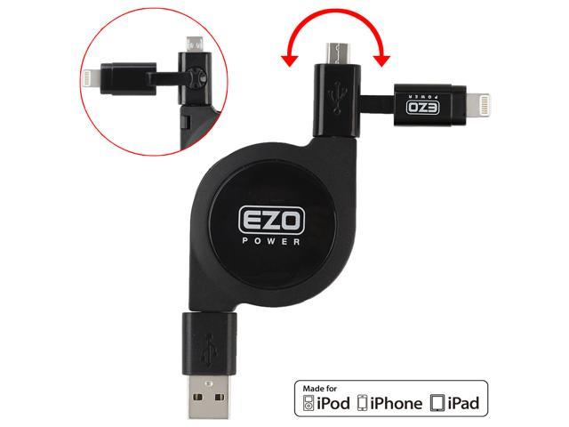 EZOPower 2 in 1 Apple Certified Lightning Connector + Micro USB Charge & Sync Retractable Cable for iPhone 6s /6s Plus, 6 ...