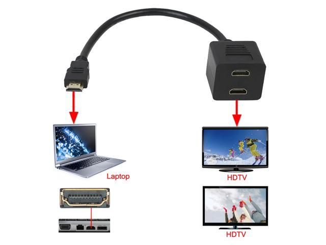 BIRUGEAR 1Foot Black HDMI Male To Dual HDMI Female 1 to 2 Way Splitter Adapter Cable For HDTV