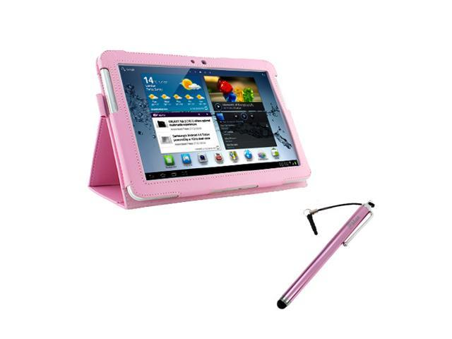 Evecase Pink PU Leather Stand Case + Universal Pen style Stylus for Samsung Galaxy Tab 2 P5100 / P5110(10.1inch,WiFi)