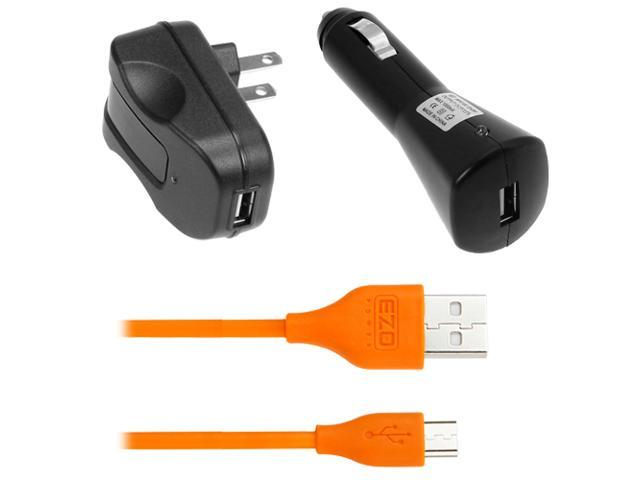 EZOPower Orange 6 Feet Micro-USB Sync & Charging Data Cable + USB Car Charger + USB Travel Charger for Samsung Galaxy Note 3, Freeform M, ...