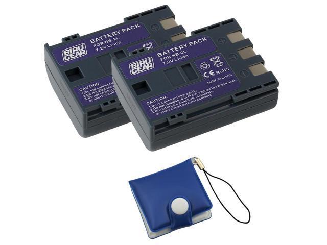 BIRUGEAR 2 x NB-2L / NB-2LH / BP-2L13 Replacement Battery + Memory Card Case for Canon MiniDV Camcorder ZR100 ZR200 ZR300 ZR400 ZR500 ZR600 ZR700 ...