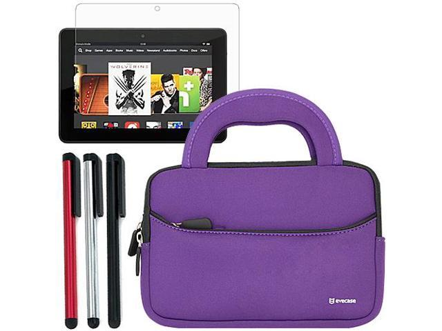 Evecase Ultra-Portable Universal Neoprene Carrying Sleeve with Stylus, Screen Protector for Kindle Fire HDX 7 Inch Tablet (Purple)