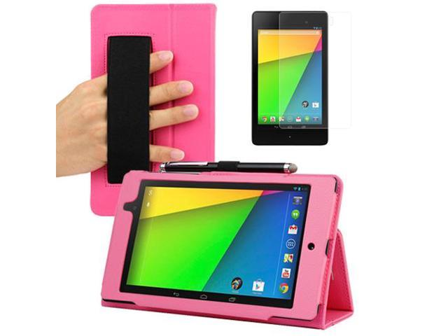 Evecase Hot Pink Auto Sleep/Wake HandStrap Leather Folio Case with Screen Protector for Google Nexus 7 FHD - 7'' Nexus 7 II / 2nd Generation ...