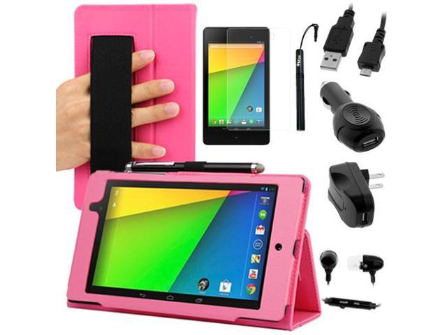 GTMax Auto Sleep/Wake HandStrap Leather Folio Case with Screen Protector. Charger Pack for Google Nexus 7 FHD - 7'' Nexus 7 II / 2nd Generation ...