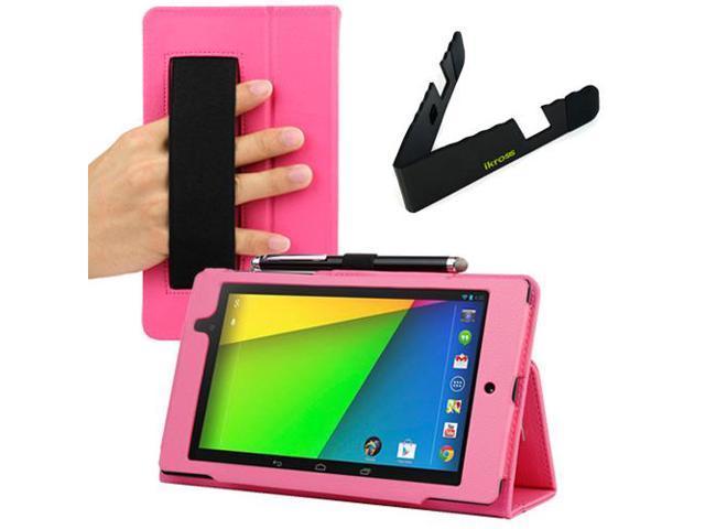 Evecase Hot Pink Auto Sleep/Wake HandStrap Leather Folio Case with Foldable Holder for Google Nexus 7 FHD - 7'' Nexus 7 II / 2nd Generation ...