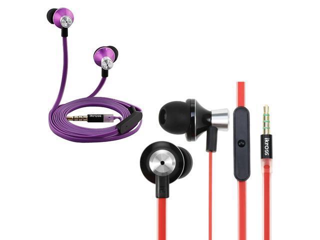 iKross 2pc In-Ear Headphones w/ Built-In Mic Bundle Kit for iPhone, iPod, iPad, Samsung, HTC, LG, Motorola Phone & Tablet (Purple & Red)
