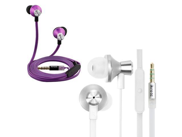 iKross 2pc In-Ear Headphones w/ Built-In Mic Bundle Kit for iPhone 6 / 6 Plus, 5S 5C, iPad Air 2, iPad Mini 3, iPod Touch ...