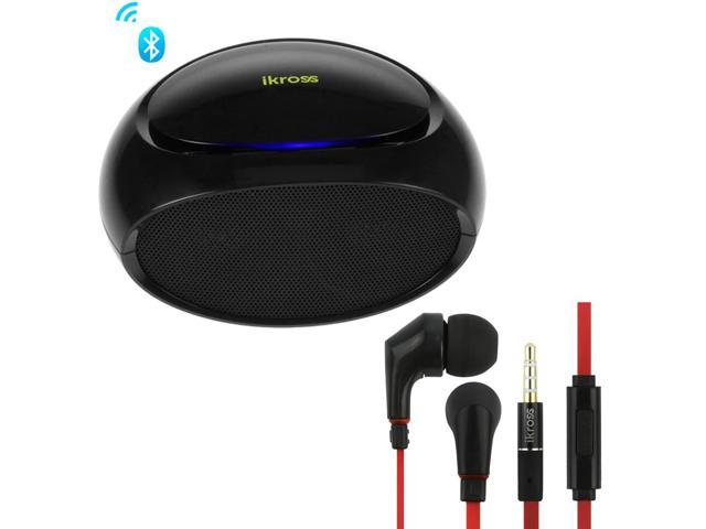 iKross Portable Bluetooth Mini Speaker with Mic + Black/ Red 3.5mm Noise-Isolation Stereo Earbud for Samsung Galaxy S5 S4, Galaxy Note 4, ATIV SE ...