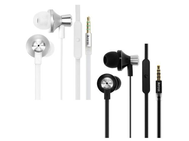 iKross 2pc In-Ear Headphones w/ Built-In Mic Bundle Kit for iPhone, iPod, iPad, Samsung, LG, HTC, Cell Phone & Tablet ( Black & White)