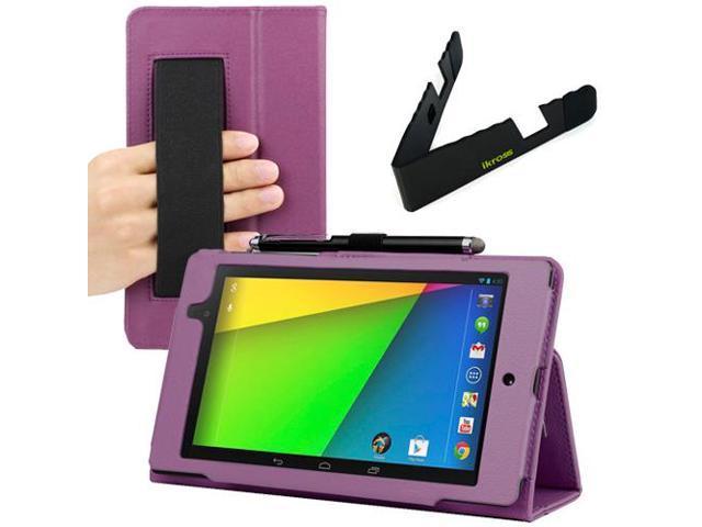 GTMax Purple Auto Sleep/Wake HandStrap Leather Folio Case with Foldable Holder for Google Nexus 7 FHD - 7'' Nexus 7 II / 2nd Generation 2013 ...