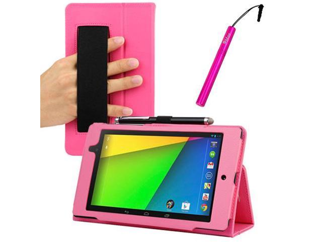 GTMax Hot Pink Auto Sleep/Wake HandStrap Leather Folio Case with Stylus for Google Nexus 7 FHD - 7'' Nexus 7 II / 2nd Generation 2013 ...