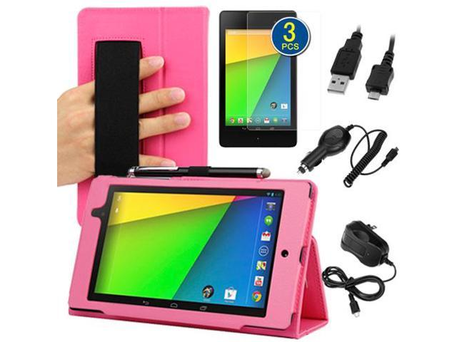 GTMax Auto Sleep/Wake HandStrap Leather Folio Case with Screen Protectors. Cable & Chargers for Google Nexus 7 FHD - 7'' Nexus 7 II / 2nd ...