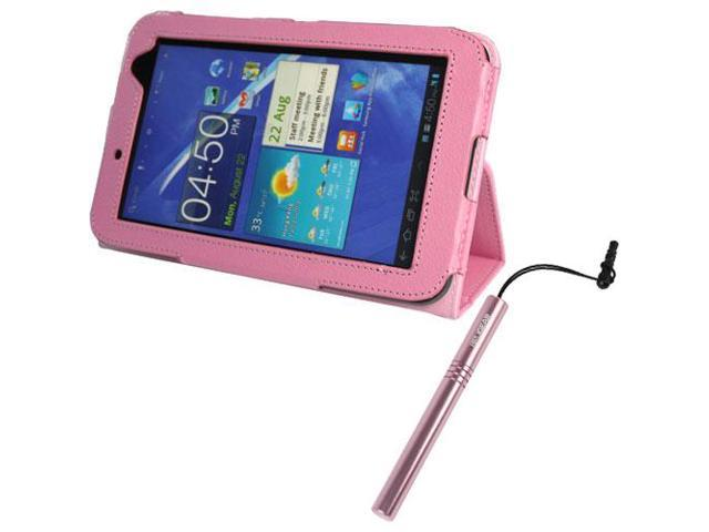 EveCase Pink PU Leather Stand Case + Universal Stylus with Cap+3.5mm Plug for Samsung Galaxy Tab 2 (7inch,WiFi)