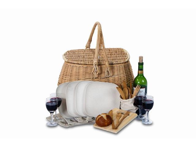 4-Person Eco-Friendly Natural Willow Picnic Basket with Bamboo Plates & Utensils