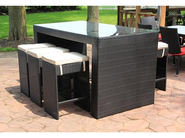 piece black resin wicker outdoor furniture bar dining set beige