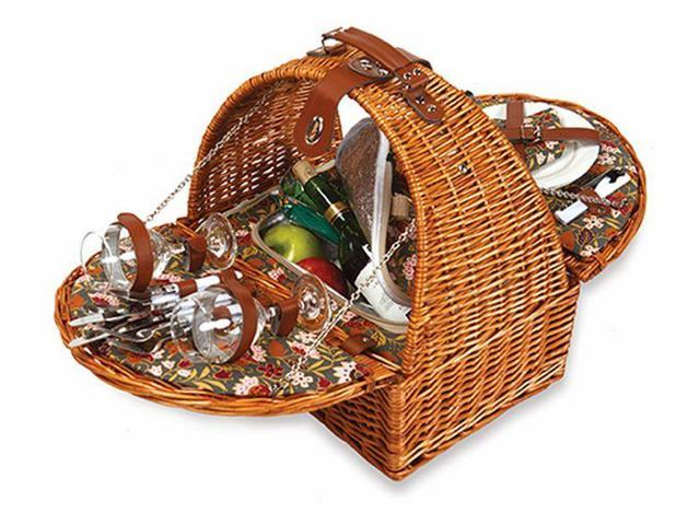 2-Person Eco-Friendly Insulated Willow Picnic Basket Set with Plates & Utensils