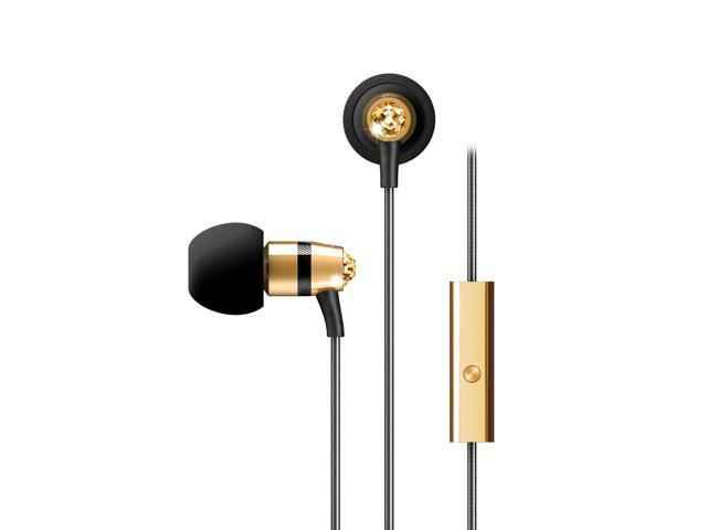MEElectronics Gold EP-M11J-GD-MEE 3.5mm Connector In-Ear Headphones with Microphone Made with Swarovski Crystals
