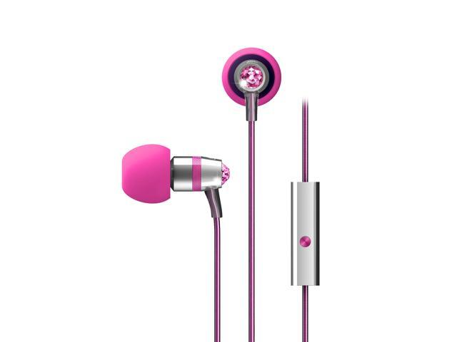 MEElectronics Pink EP-M11J-PK-MEE 3.5mm Connector In-Ear Headphones with Microphone Made with Swarovski Crystals