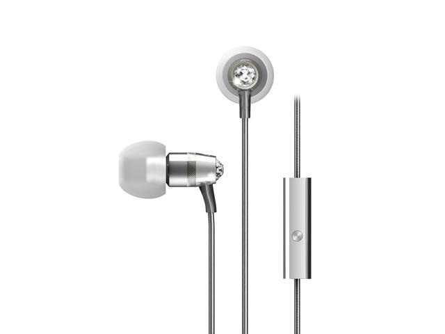 MEElectronics Silver EP-M11J-SL-MEE 3.5mm Connector In-Ear Headphones with Microphone Made with Swarovski Crystals