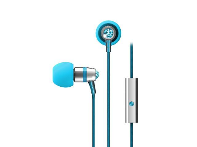 MEElectronics Turquoise Blue EP-M11J-TQ-MEE 3.5mm Connector In-Ear Headphones with Microphone Made with Swarovski Crystals