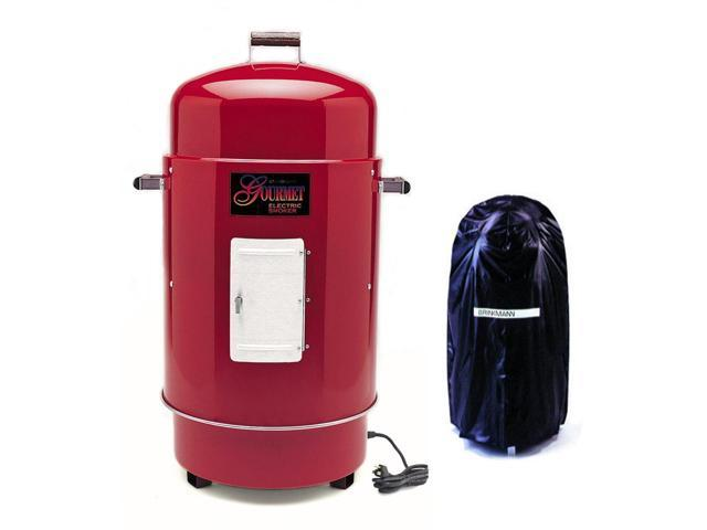 Gourmet Red Electric Smoker & Grill with Vinyl Cover