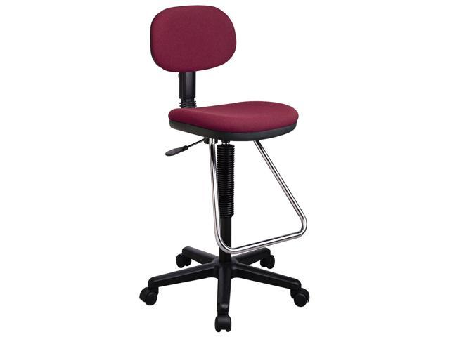 Drafting/Laboratory Chair w Chrome Footrest, Cushioned Seat & Back (Black in Icon Pattern)
