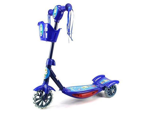 VT Lil Man Children's Kid's Three Wheeled Metal Frame Toy Kick Scooter w/ Light Up Base, Music (Blue)