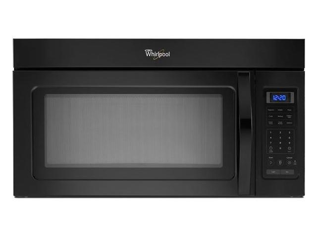 1.7 cu. ft. Over-the-Range Microwave Oven with 220 CFM Vent System, 2-Speed Fan, 1,000 Watts, 2 Stage Cooking and Blue LED Display: Black