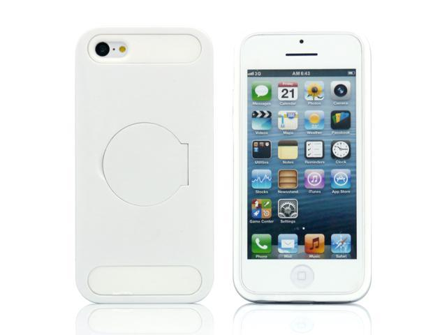 White Hybrid Hard PC Silicone Back Case Cover circle Stand compatible with Apple® iPhone® 5C