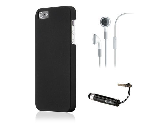 Black Ultra Thin Slim Rubbertized Hard PC Case Cover Earphone Stylus for iPhone 5