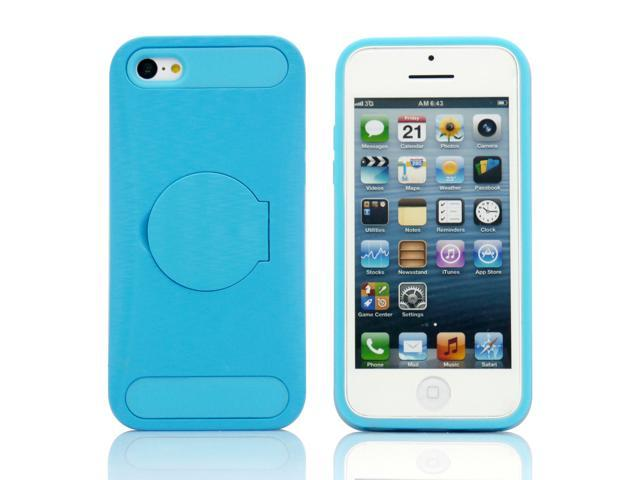 Blue Hybrid Hard PC Silicone Back Case Cover circle Stand compatible with Apple® iPhone® 5C