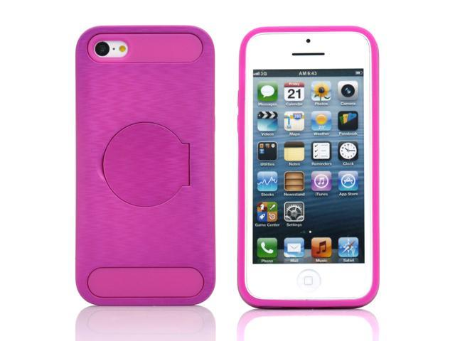 Red Hybrid Hard PC Silicone Back Case Cover circle Stand compatible with Apple® iPhone® 5C