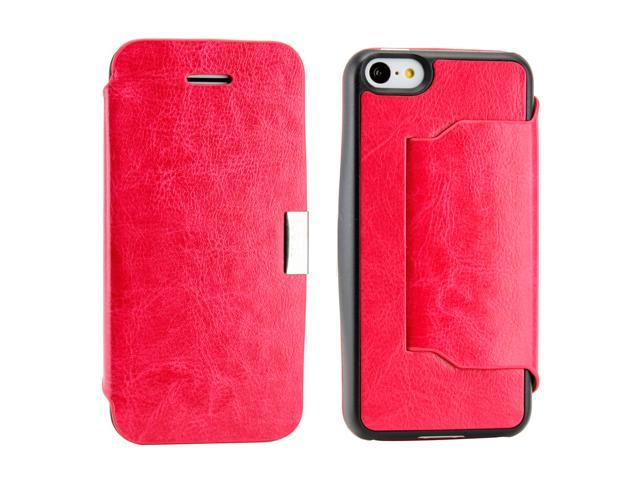 Compatible with Apple® iPhone® 5C Hot pink PU Leather Magnetic Flip Cover Case with stand