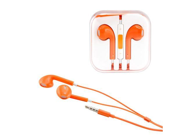 Gearonic ™ New 3.5mm Eearbud Earphone Headset Earpods for Apple iPhone 5 5S Mobile MP3 MP4 Tablet PC Laptop with Microphone - Orange