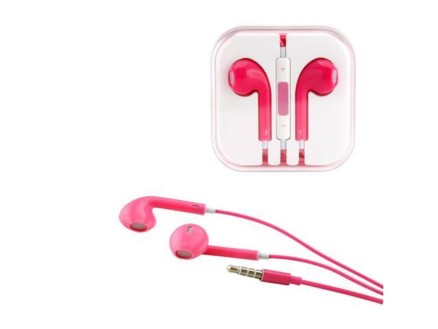 Gearonic ™ New 3.5mm Eearbud Earphone Headset Earpods for Apple iPhone 5 5S Mobile MP3 MP4 Tablet PC Laptop with Microphone - Pink