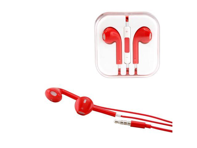 Gearonic ™ New 3.5mm Eearbud Earphone Headset Earpods for Apple iPhone 5 5S Mobile MP3 MP4 Tablet PC Laptop with Microphone - Red