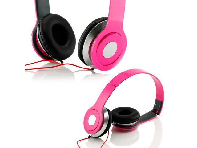 Gearonic ™ Adjustable Circumaural Over Ear Stereo Stero Earphone Headphone for PC MP3 MP4 iPod iPhone iPod Tablet - Hot Pink