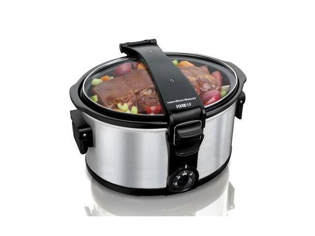 Hamilton Beach 33472 Stainless Steel 7 Qt. Stay or Go 7 Quart Portable Slow Cooker