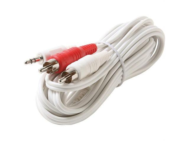 Steren 252-052WH Steren 2' 3 5mm male to 2-rca male y cable - white