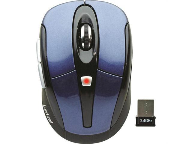 GEAR HEAD MP2650BLU-CP10 Black / Red 1 x Wheel USB RF Wireless Optical 1600 dpi Nano Mouse