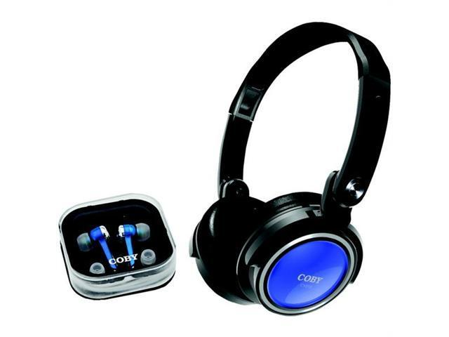 COBY CV215BLU Coby cv215blu jammerz headphones with earbuds & carrying case (blue)