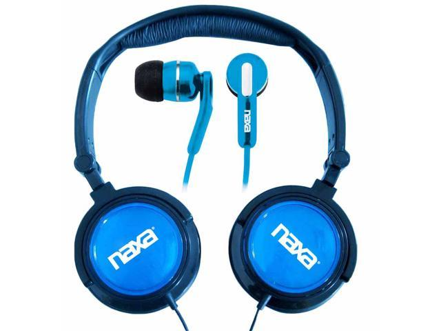 Naxa 2 in 1 Combo Super Bass Stereo Headphones and Earphones Blue