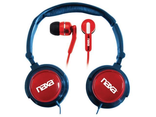 Naxa 2 in 1 Combo Super Bass Stereo Headphones and Earphones Red