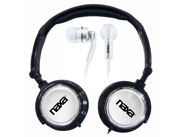 Naxa 2 in 1 Combo Super Bass Stereo Headphones and Earphones Silver
