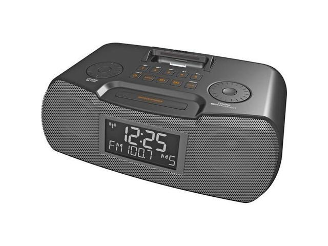 Black AM/FM-RDS Atomic Clock Radio With iPod? Dock