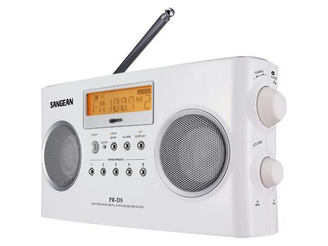 White Portable Radio with Digital Tuning and RDS
